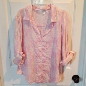 NWOT Eden & Olivia pink &white top